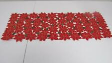 """Christmas Red Poinsettia Cut Out w/Gold Table Runner 13 x 36"""" Centerpiece NEW"""