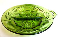 Indiana Green Glass Divided Relish Dish Bowl Paisley Scroll