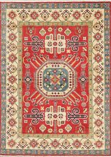 RED Geometric South-west 5'x7' Super Kazak Area Rug Hand-Knotted Oriental Carpet