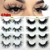 4Pair 3D Mink False Eyelashes Wispy Cross Long Thick Soft Fake Eye Lashes UK