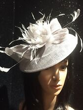 GINA BACCONI SILVER  GREY WEDDING HAT DISC FASCINATOR  MOTHER OF THE BRIDE