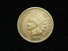 SUMMER SALE!!  VF 1881 INDIAN HEAD CENT PENNY w/PARTIAL LIBERTY & DIAMONDS #5x
