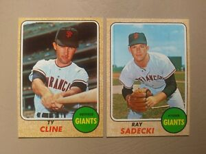 1968 Topps San Francisco Giants NM Lot (2 different): #469 Cline, #494 Sadecki