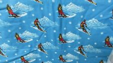 """""""""""DOWNHILL SKIING ON BRIGHT BLUE BACKGROUND - FLANNEL FABRIC"""""""" - 4 YARDS"""