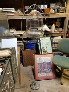 RARE Art Deco Green Hendryx? Birdcage w Stand Original Vintage Antique w/inserts