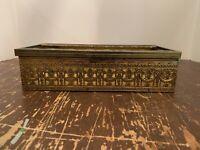 Vintage Mid Century Hollywood Regency Brass Ornate Filigree Tissue Box Holder