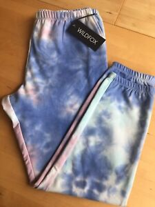 Wildfox Painted Sky Rory Sweatpants Women's Large NEW - White, Blue, Pink