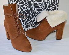 New $450 Diane Von Furstenberg Pacey Burnt Umber/Sport Suede Ankle Boots Brown 7