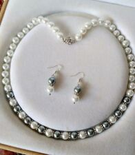 8mm Gray/White  Shell Pearl necklace AAA 18 inches Earring Set j092