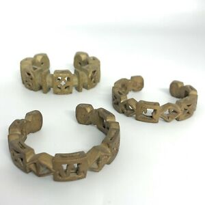 Joblot 3 x Matte Brass Bangle Stylish Cuff Bracelets Costume Jewellery 02035 CP