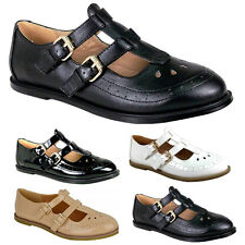 WOMENS GIRLS FLAT CUT OUT MARY JANE T-BAR GEEK PUMPS BLACK PATENT SHOES SIZES