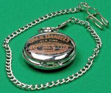 "Mens Pocket Watch Quartz""Jack Daniels"" with Chain Silver Looks Casing White Face"