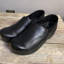 Dansko Phoebe Women's 39  8.5 Black Leather Professional Slip On Clogs 113020200