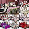 3/4Pcs 3D Printed Wedding Floral Bedding Sets Flat Sheet Pillowcase Quilt Cover