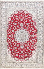 Wool & Silk Floral 225 Knots! Nain Oriental Medallion Area Rug 6x9ft Red