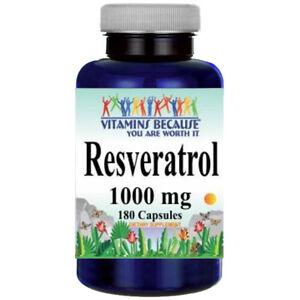 Resveratrol 1000mg 180 caps (Polygonum Cuspidatum) Vitamin Because Natural