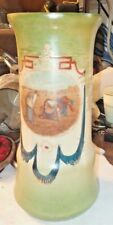 "Large Victorian Milk Glass Hand Decorated 10-5/8"" Vase"