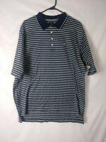 Nike Golf Mens Shirt Size Large Blue Striped Short Sleeve Polo 100% Cotton