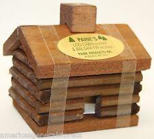 "small LOG CABIN INCENSE BURNER 2.5""x3.5"" + 10 balsam fir 3/8"" logs Paine's"