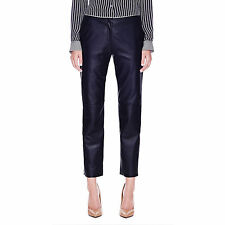 Theory  Inzulle Lamb Leather Straight-Leg Pants in Navy Size:00 $995 NWT