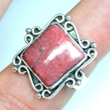 6.87 Grams 925 Sterling Silver Fine Natural Hand Made Rhodonite Rings Jewelry $