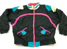 VINTAGE Space Fly Ski Jacket Women's Size Large Black Puffer Insulated Retro 90s