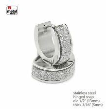 Mens DJ Fashion Stainless Steel Huggie Hoop Hinged Snap Earrings SSHE 029 S