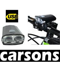 front USB 2 led rechargeable light black -bright lights flashing waterproof bike