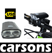 front USB 2 led rechargeable light black -bright lights flashing waterproof bike