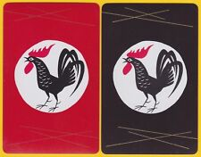 2 Single VINTAGE Swap/Playing Cards ROOSTER BIRD COCK RED BLACK GOLD LINES