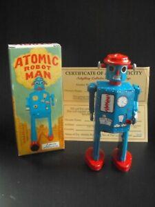 ATOMIC ROBOT MAN BLUE wind up key MIB 1997 Schylling #1408 vtg COA
