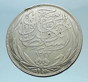 1917 EGYPT Sultan Hussein Kamil Genuine Silver 5 Piastres Egyptian Coin i78340