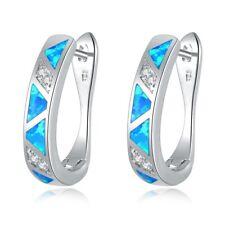 Blue Fire Opal Zircon Women Jewelry Gemstone Silver Hoop Earrings 19mm OH2450
