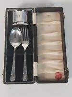 Yeoman Silver Plated Child Spoon, Fork and Napkin Ring with Monogram, Boxed
