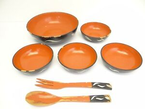 Decorative Made in Japan Alcohol Proof VCA GOO Salad Bowl Set Wood Hand Painted