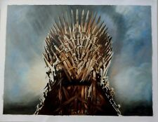 "Game of Thrones Iron Throne ART Oil On Canvas Painting HUGE 30x40"" ORIGINAL"