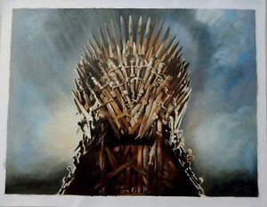 """Game of Thrones Iron Throne ART Oil On Canvas Painting HUGE 30x40"""" ORIGINAL"""