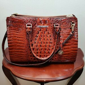 NWT New Brahmin Handbag Blake Satchel Bag in Pecan Melbourne Style