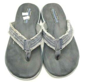 Skechers Gray Distressed Edge Casual Slide Flip Flop Sandals Shoes Men's 9