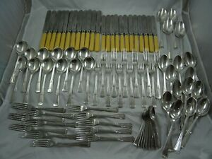 MAGNIFICENT ART DECO sterling silver CANTEEN OF CUTLERY , 1934, 3129gm
