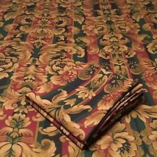 1 PAIR JCPENNEY ROD POCKET CURTAIN PANELS! GOLD FLORAL ON STRIPES EUC!