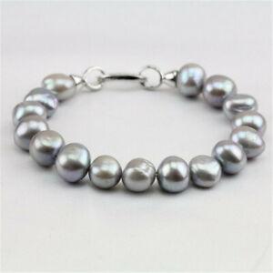 9-10mm Gray Baroque Pearl Bracelet 7.5inch Silver Buckle Flawless Chain Jewelry