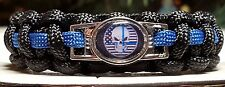 Thin Blue Line Punisher Skull USA Black & White Flag; Police Paracord Bracelet