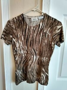 Neiman Marcus 100% Pure Cashmere Short Sleeve Sweater Tan Brown Super Soft Small