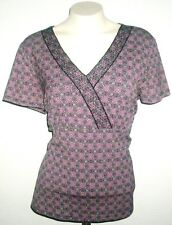 Charter Club Womens Pullover Blouse Size Large Pink Black Print Shirt Top S/S