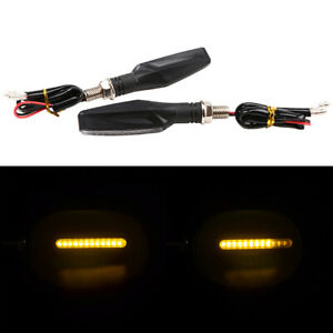 Pair Motorcycle LED Flowing Turn Signal Indicator Lights Black Universal Fit
