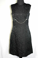 VINTAGE 1960'S BLACK RAYON FLORAL BROCADE  RHINESTONE BELT COCKTAIL DRESS SIZE 6