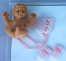 Dolls house miniature baby girl doll and tiny pink knitwear bonnet & mittens