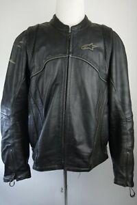 Alpinestars Leather Motorcycle Jacket Black Label Men Size 3XL With Liner