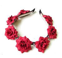 Red Black Rose Silver Spike Stud Flower Headband Sugar Skull Pastel Goth 2029